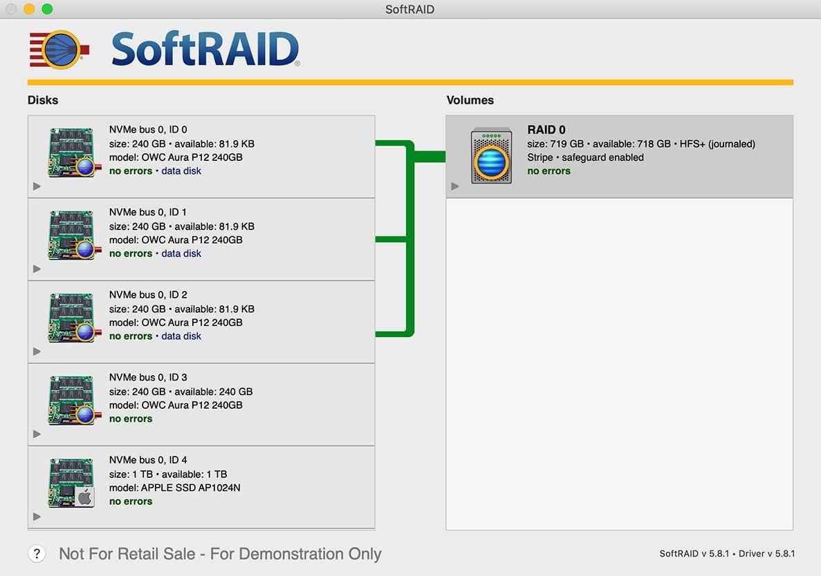 SoftRAID no errors RAID 0