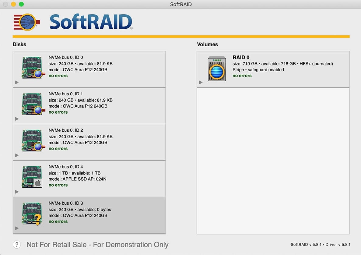 SoftRAID window showing drive with a question mark