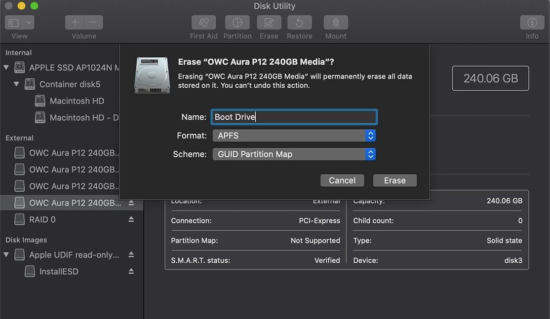 Disk Utility erasing boot drive