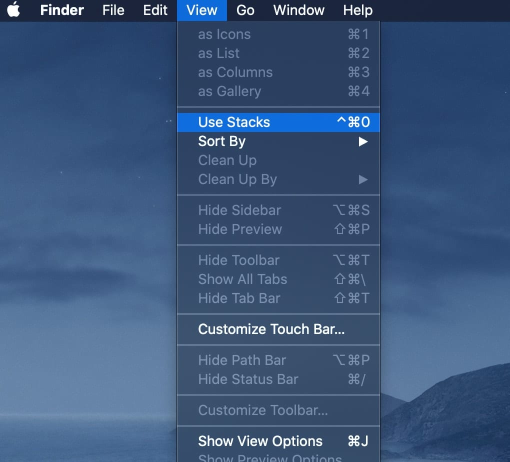 Screenshot of Mac Finder menu View > Use Stacks...