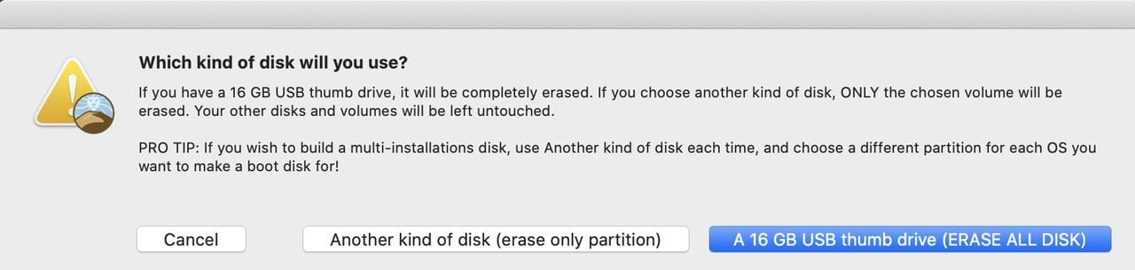"""If you're using a flash drive, click the appropriate button. For a hard disk or SSD, use """"another kind of disk"""""""