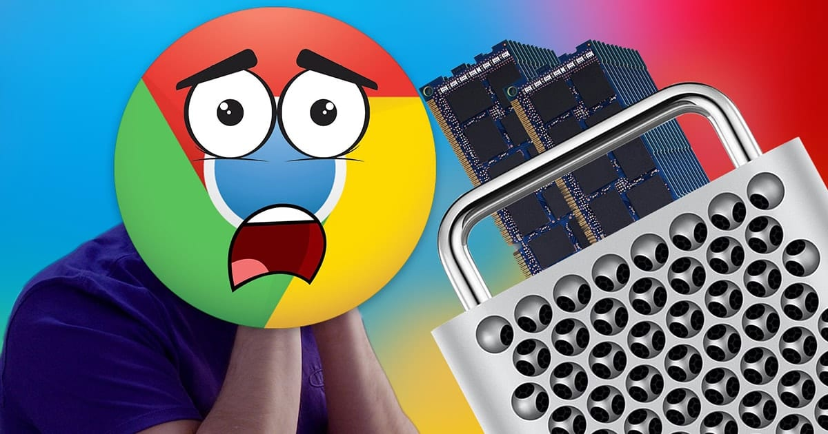 Scared google chrome icon covering Jonathon Morris' face with a 2019 mac pro and two stacks of memory sticks