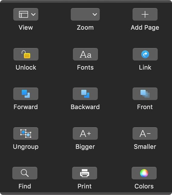 Touch Bar options for Pages