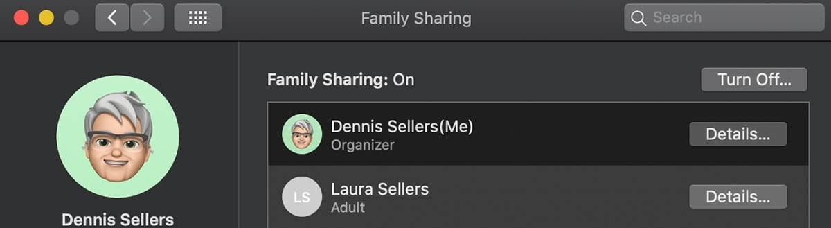 Mac family sharing system preferences