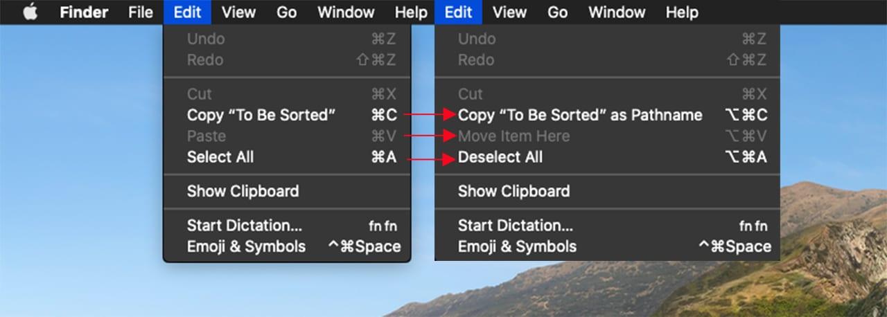 Finder's Edit menu.