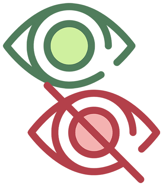 Green eye icon and red eye icon with a line through it
