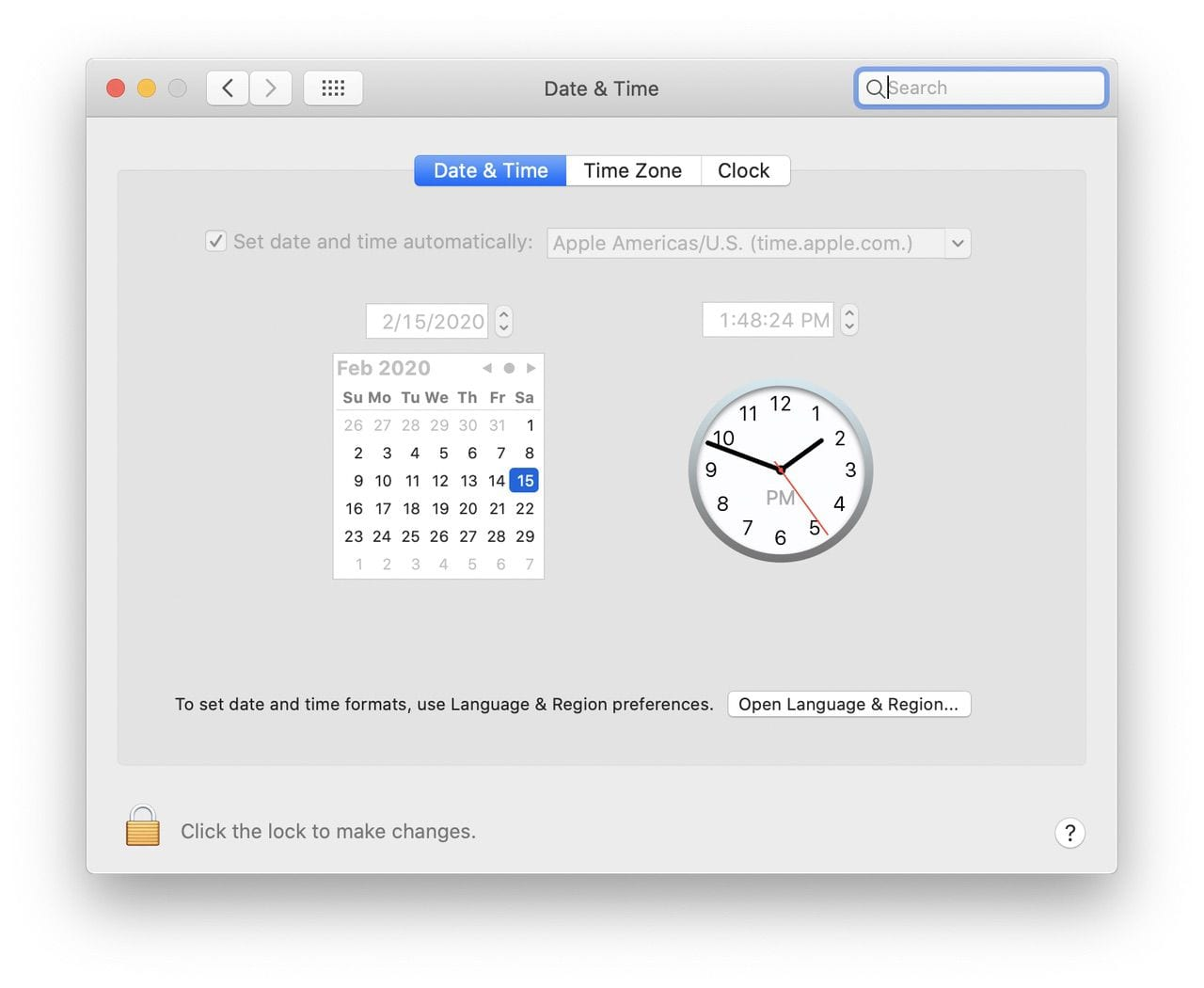 System Preferences > Date & Time shows that this Mac checks the current time and date against an Apple NTP server