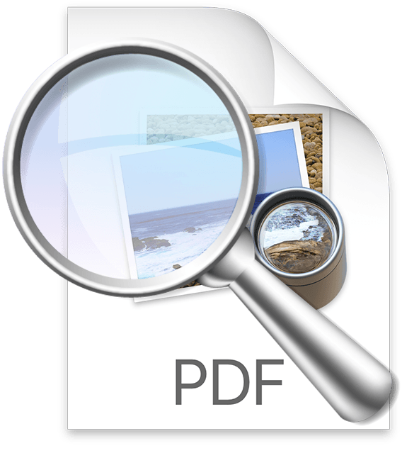 Mac PDF icon with magnifying glass on a transparent background