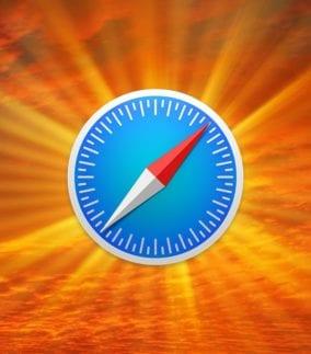 Safari icon with a sunburst background