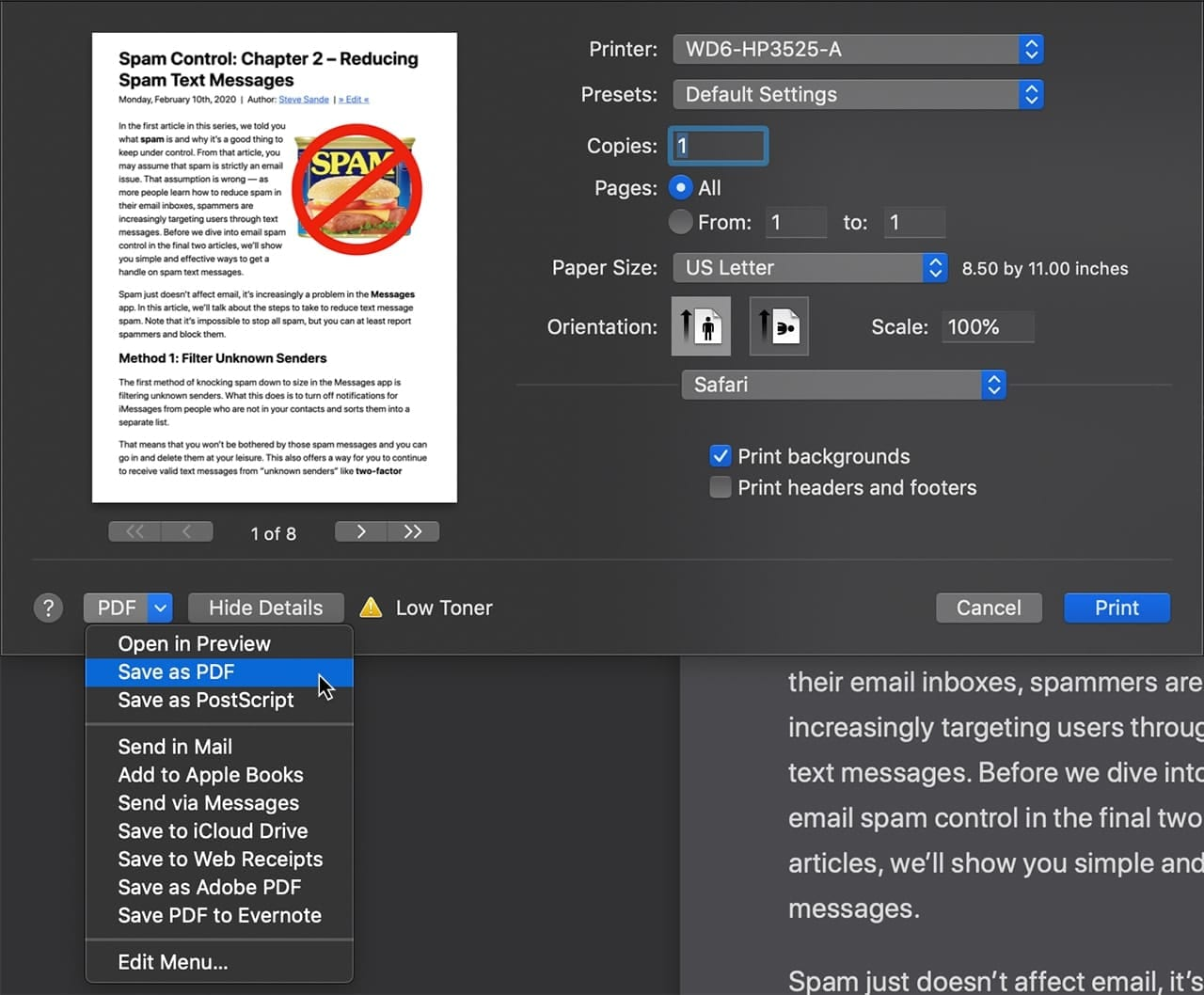 Safari Reader view pages can be saved as PDF's