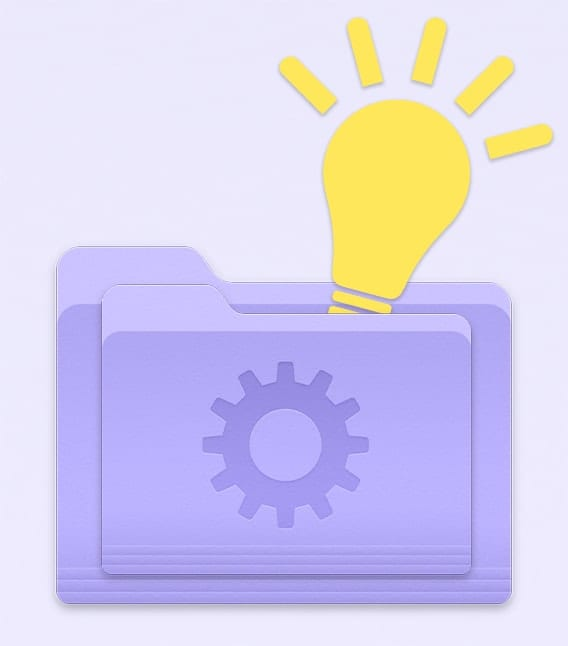 Purple mac smart folder icon with yellow lightbulb on light purple background