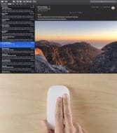 apple magic mouse doing a two-finger swipe