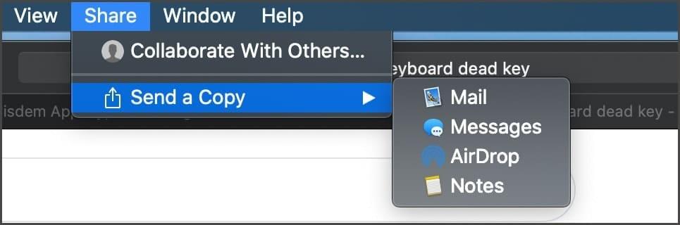 Share menu > send a copy > Airdrop