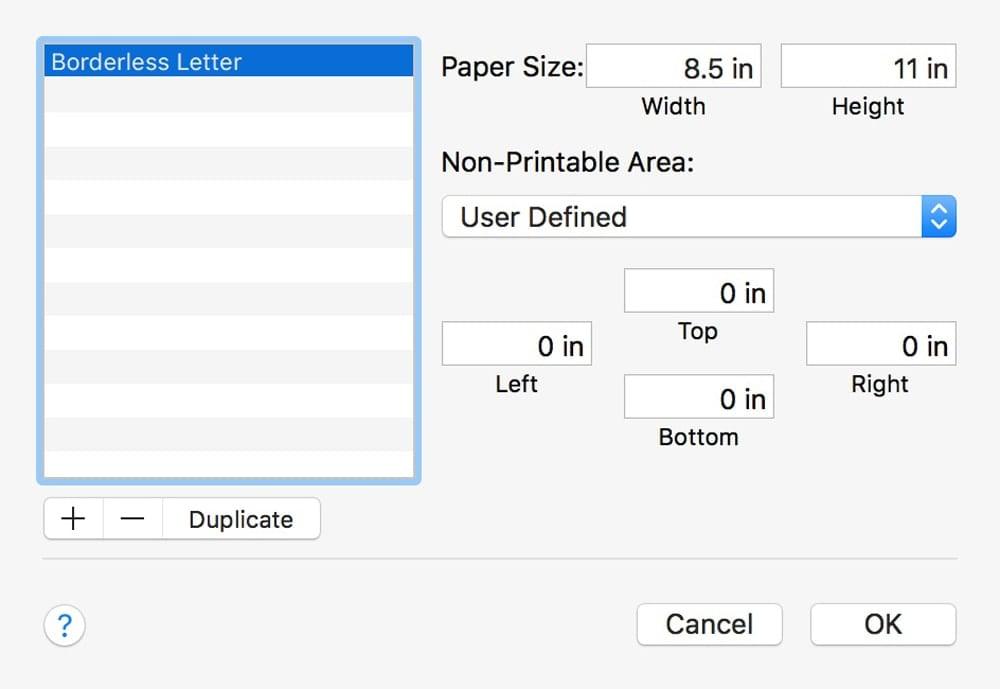 Custom paper size margin settings.