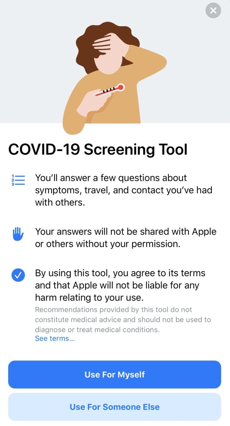 The opening screen of the Apple/CDC COVID-19 Screening Tool