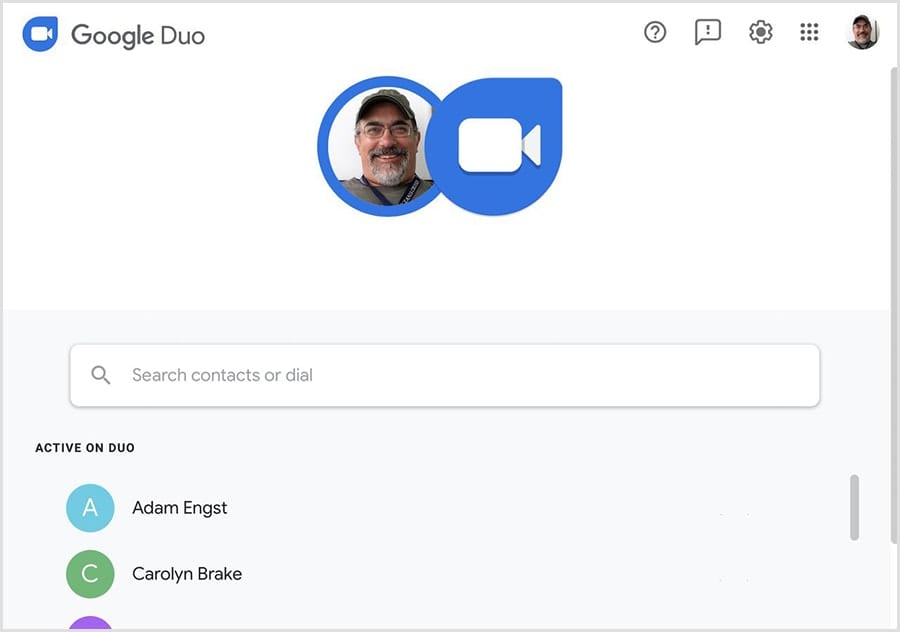 Google Duo in a web browser window on a Mac