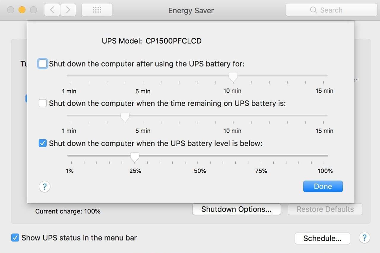 Energy Saver preference pane showing UPS settings.
