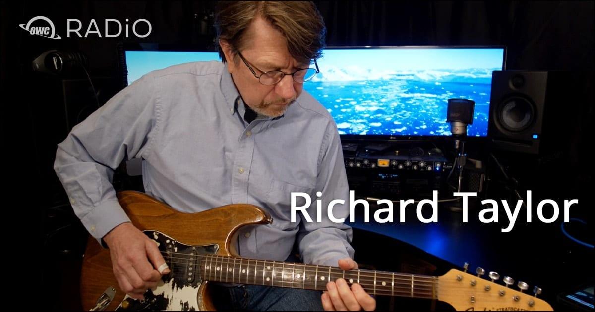 Richard Taylor playing guitar with OWC RADiO logo