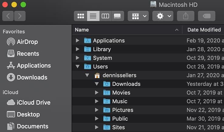 Screen shot of mac finder user menu dropdown
