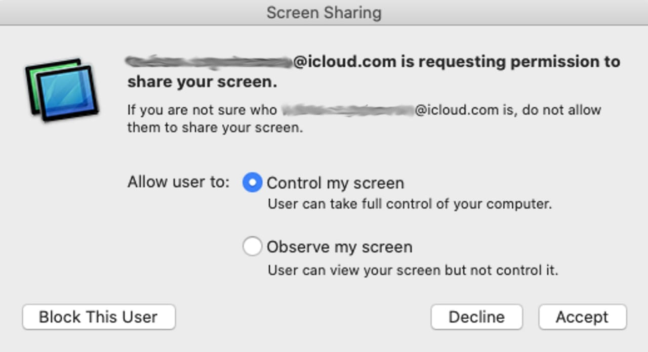 Screen Sharing permissions.