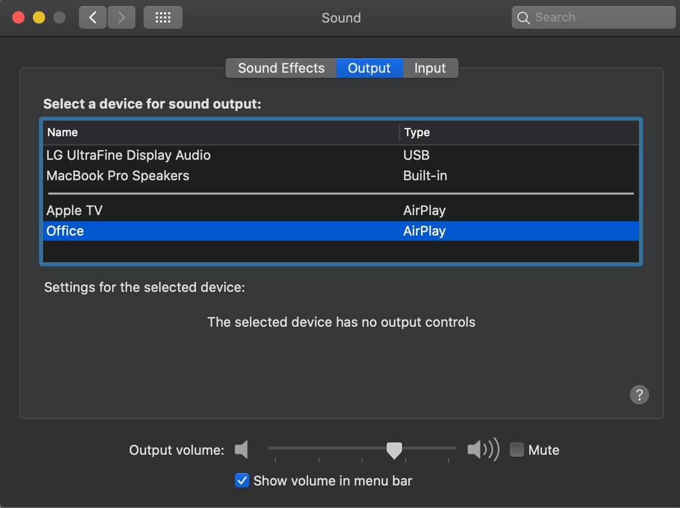 Screen shot of mac sound preferences window