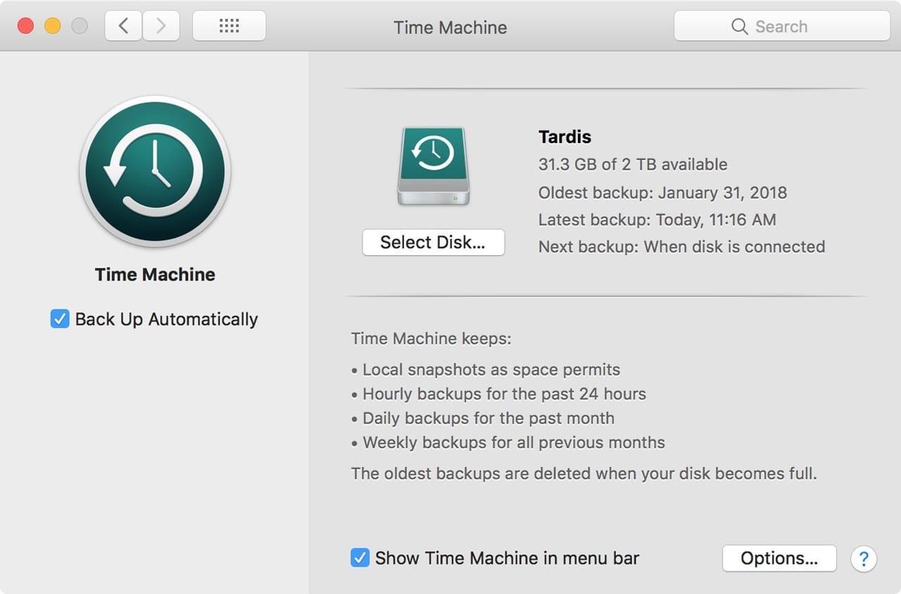 Time Machine preference pane.