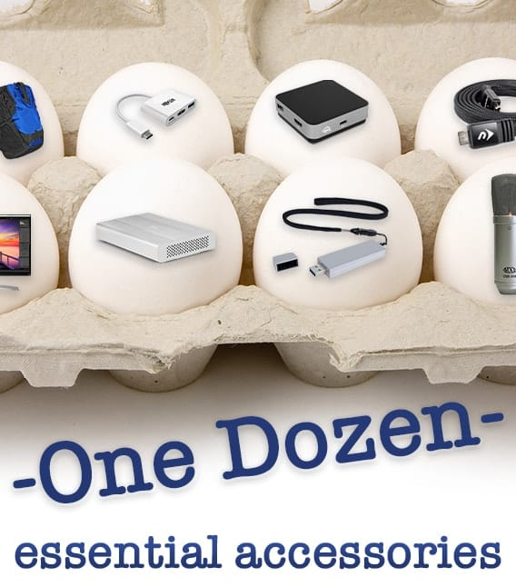 "A carton of eggs showing small images of owc products with text saying ""One dozen essential accessories."""