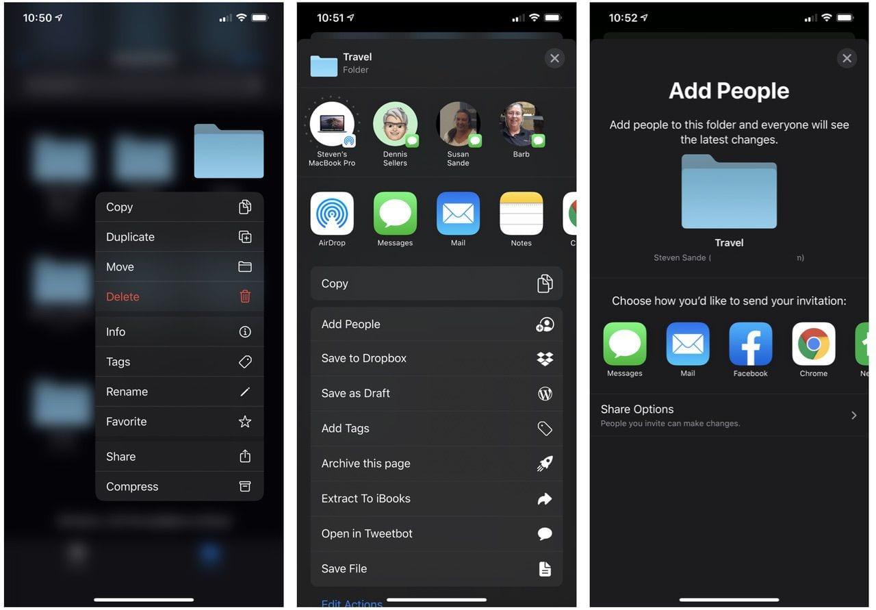 Sharing an iCloud Folder in iOS / iPadOS