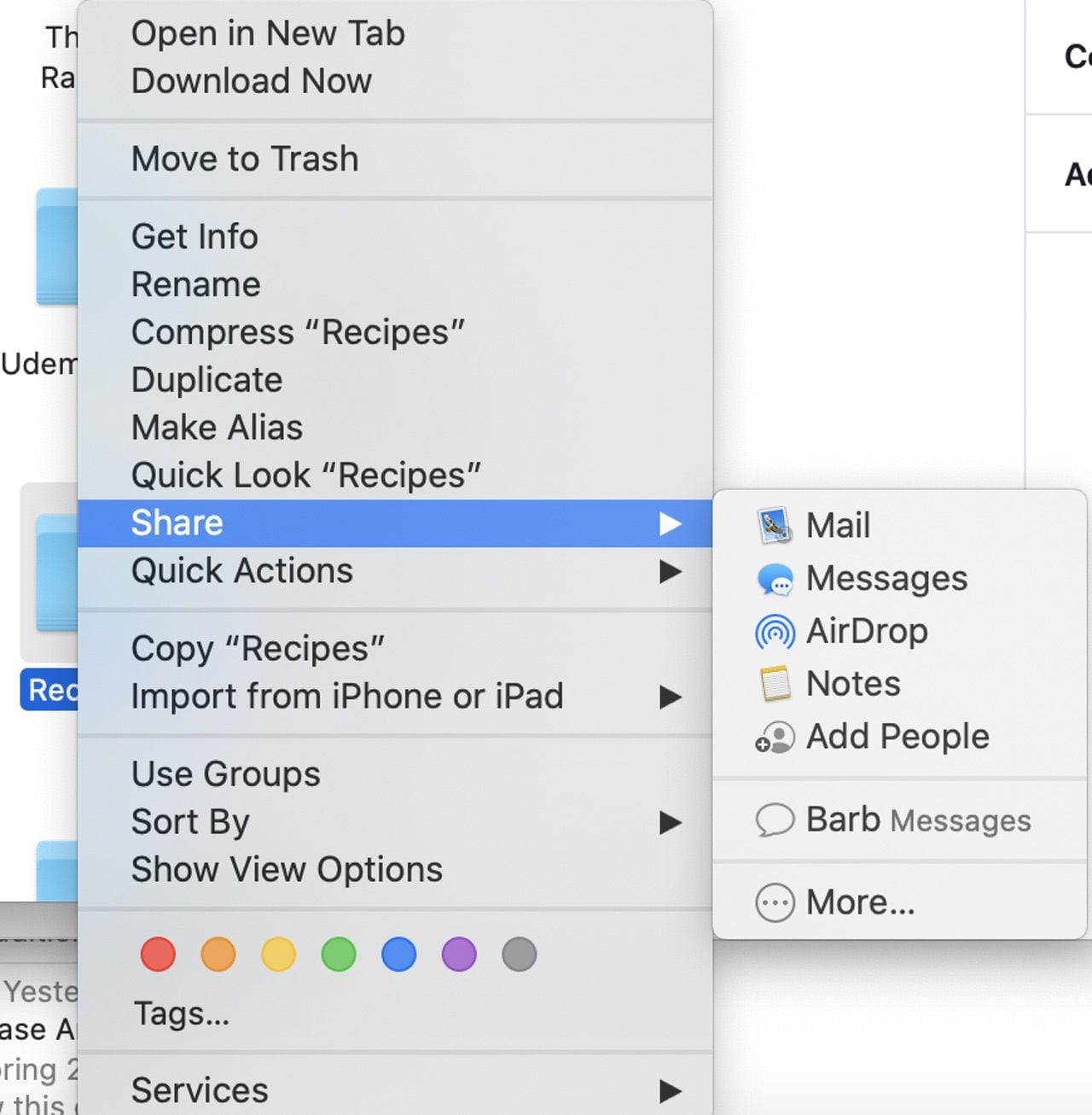 Folder share options in macOS