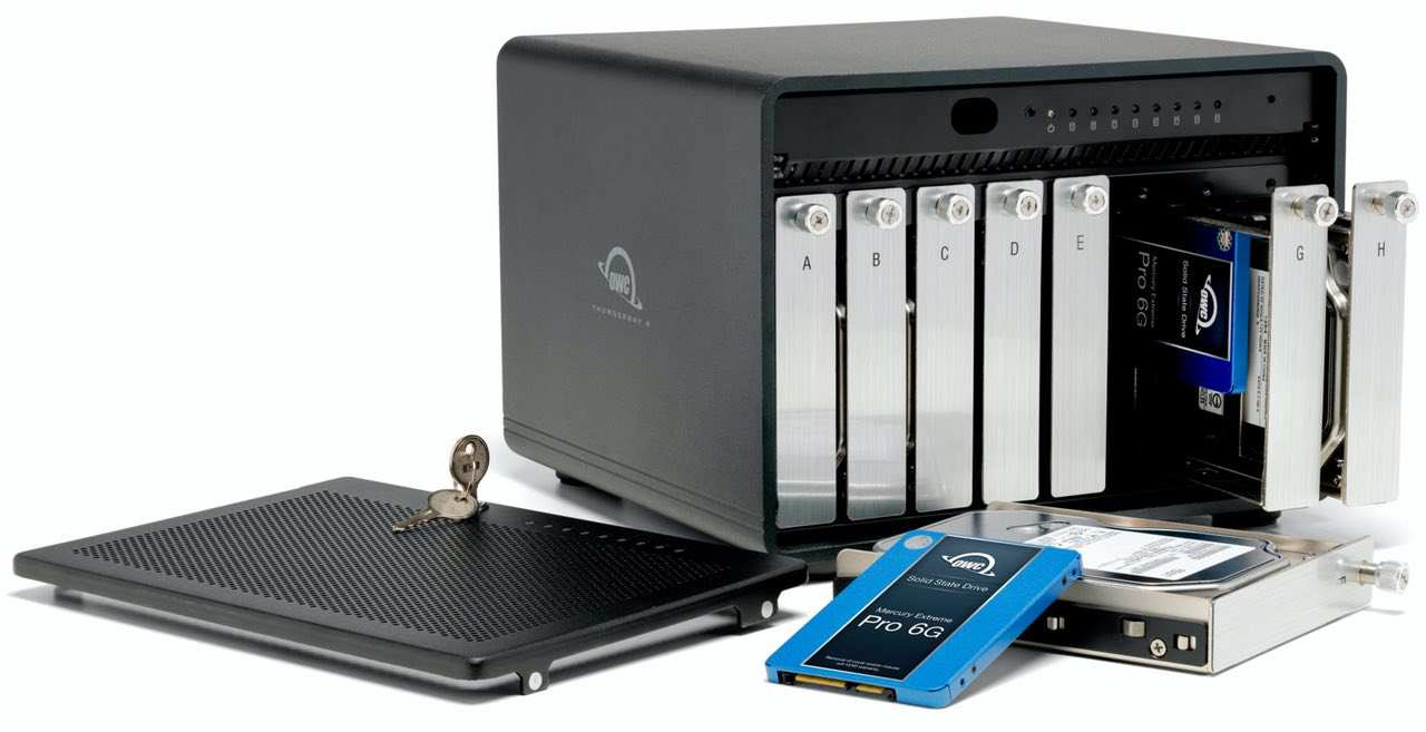 The OWC ThunderBay 8 has eight drive bays and comes with SoftRAID to simplify creating an array to your specifications