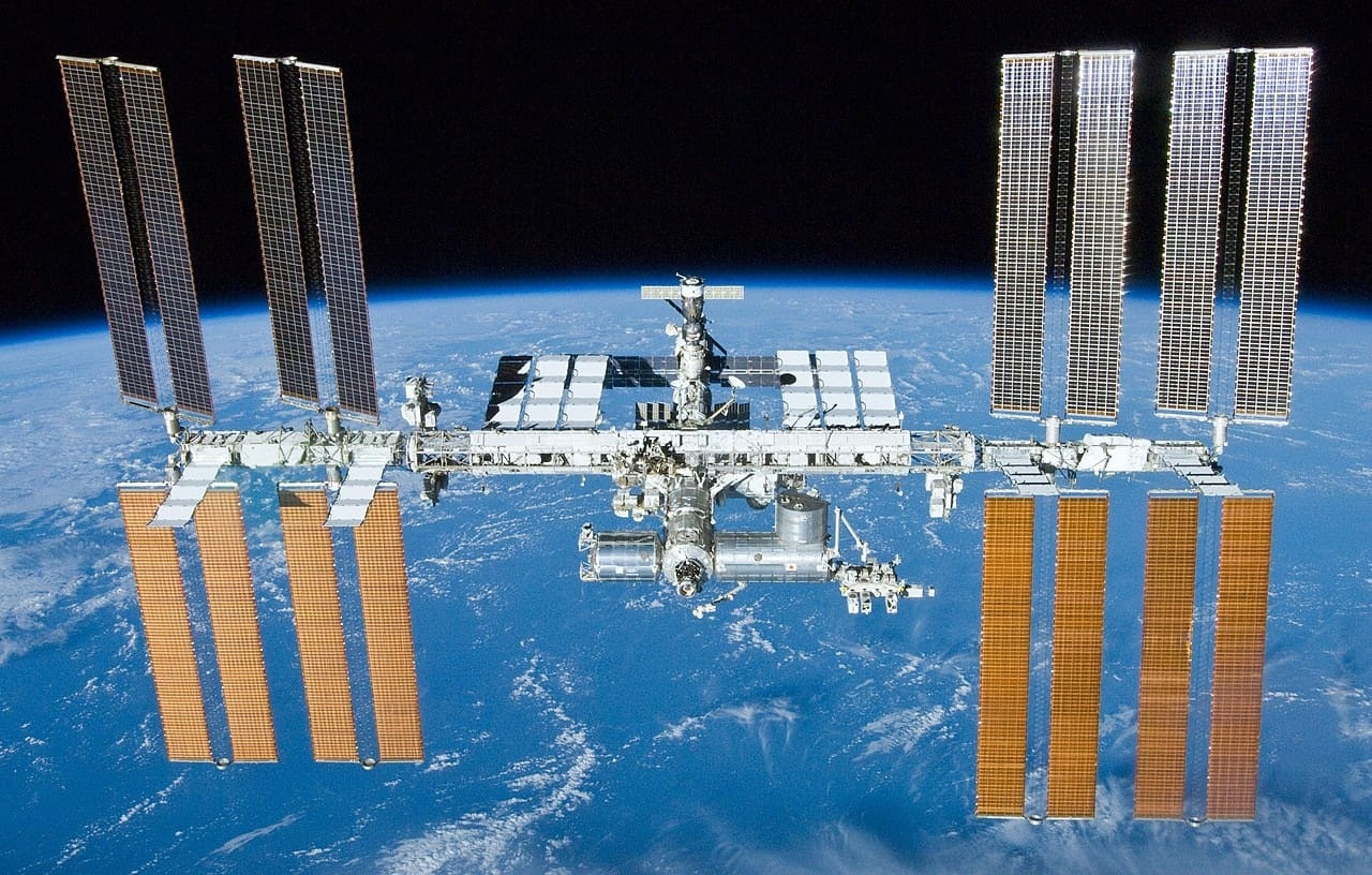 The International Space Station, showing the huge solar arrays that power the station. Image via NASA