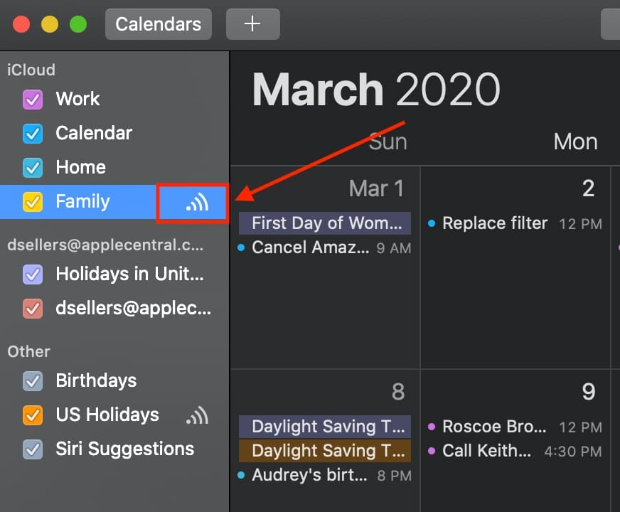 Mac calendar list with the share icon outlined
