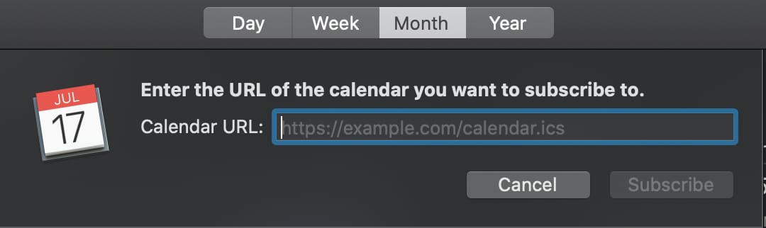 enter calendar url dialog box
