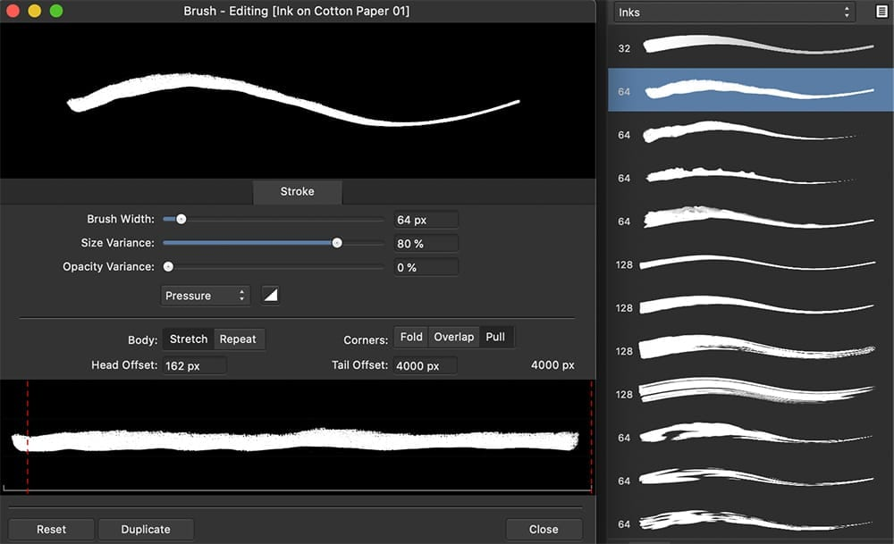Affinity Designer Brush Panel & Editor