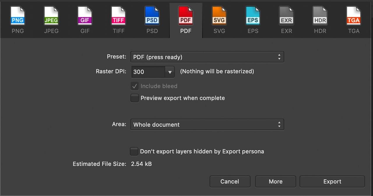 Affinity Designer Export Dialog