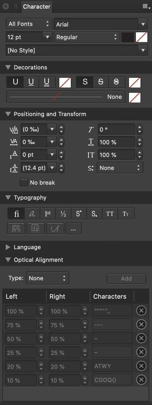 Affinity Designer Typography Palette