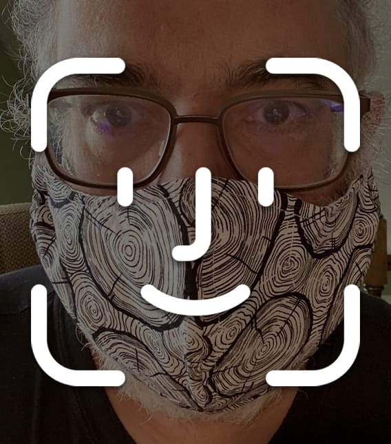 Face ID logo over face mask