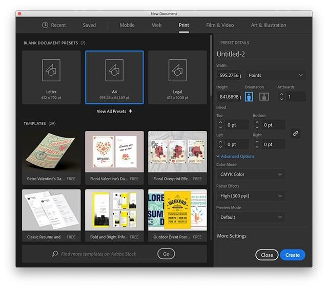 Adobe Illustrator Presets Dialog