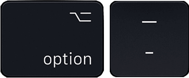 en dash - option hyphen