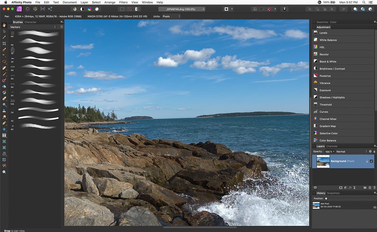 screenshot of affinity photo adjustments panel