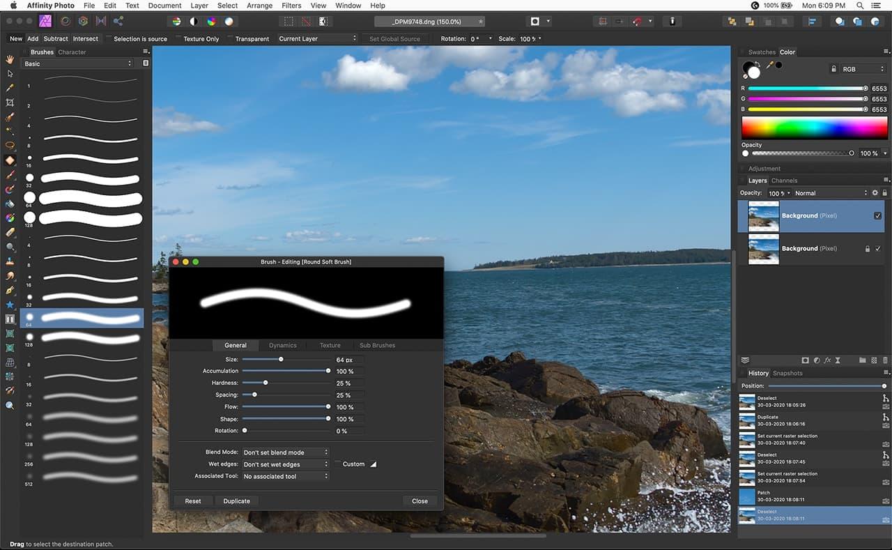 screenshot of affinity photo briushes, brush parameters