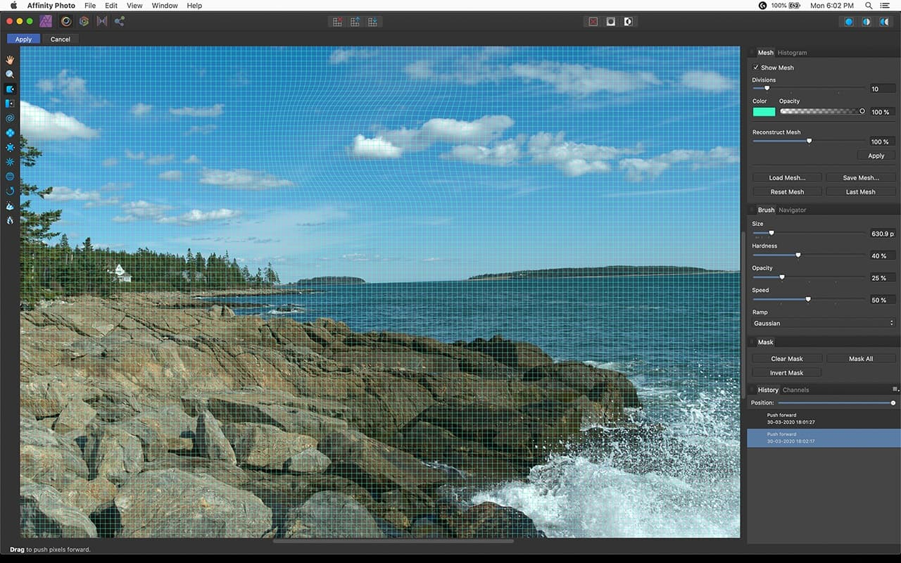 screenshot of affinity photo liquify panel