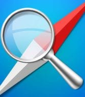 magnifying glass and safari logo