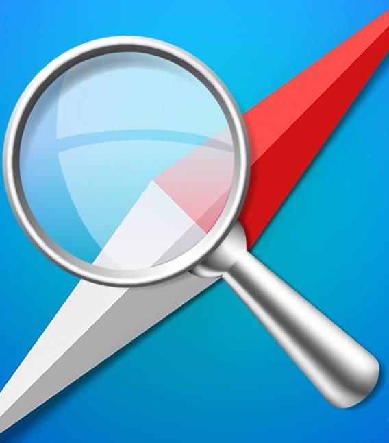 magnifying glass and safari logo