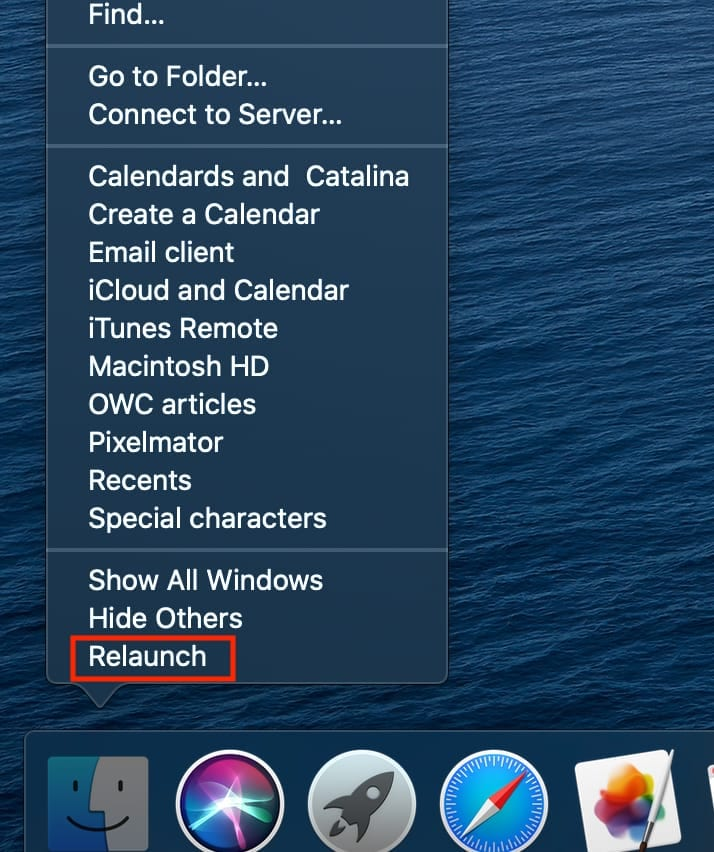 "Screen shot of Finder right-click menu with ""Relaunch"" outlined with a red box"