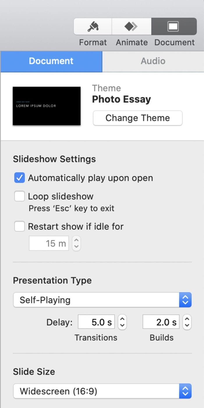 Controls for setting up a self-playing slideshow.