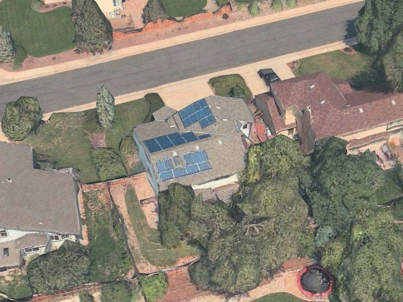 An Apple Maps 3D View of the Solar Panels on the Author's Home