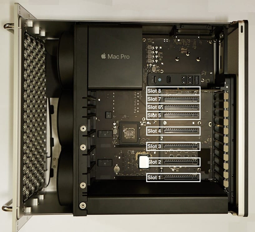 Inside Mac Pro 2019 showing PCIe slots