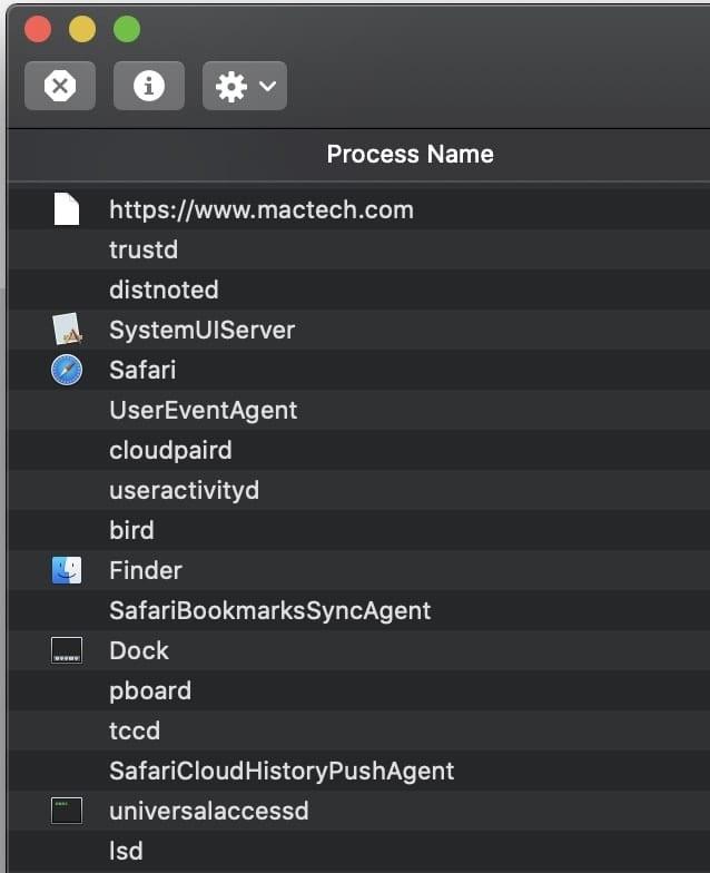 Activity monitor process name
