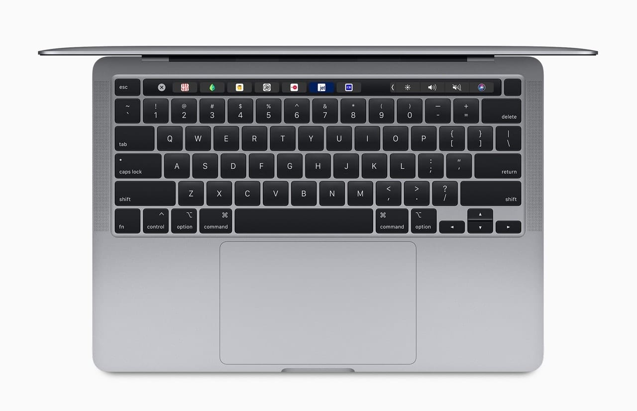 The 13-inch MacBook Pro is equipped with the Magic Keyboard, featuring the Touch Bar and Touch ID. Image via Apple